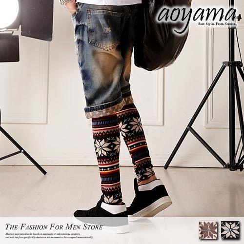 [青山~AOYAMA] 日系時尚流行尖端指標 型男民族風雪花圖層牛仔褲內搭褲/9分褲3色【A2141】