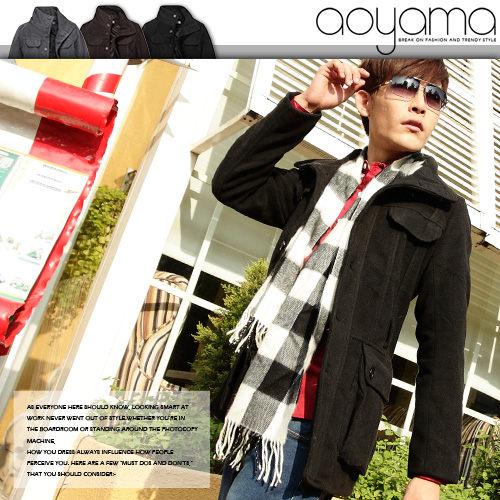 男大衣【AR1105】韓版精品立領排扣設計綁繩厚毛呢中長大衣/外套(2色)