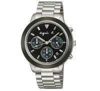 agnès b.到agnes b VD53-KQ00A(BT3014X1)法式時尚計時腕錶/黑面40mm