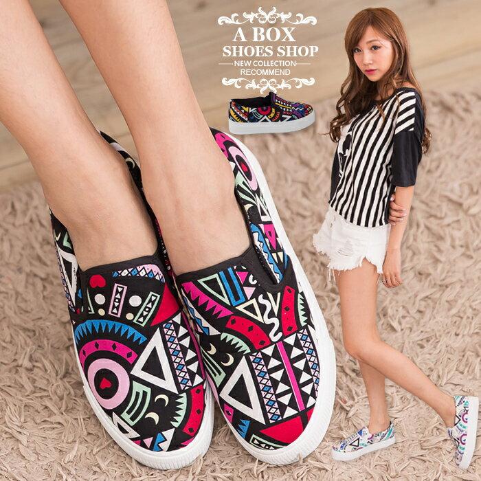 格子舖*【AS893】個性超值繽紛撞色幾何圖騰 增高厚底鬆糕鞋 懶人鞋 帆布鞋 3色 0