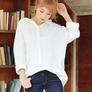 美麗大街~IR1989~甜美翻領寬鬆白色長袖襯衫