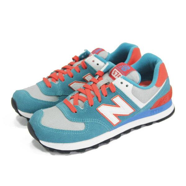 (女)NEW BALANCE 復古鞋 藍綠/灰/亮橘-WL574CPE