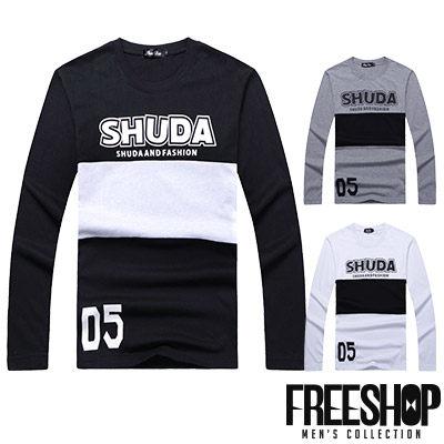 Free Shop【QR95017】日韓風格橫條拼接SHUDA數字05印花圓領棉質長T長袖上衣潮T 三色