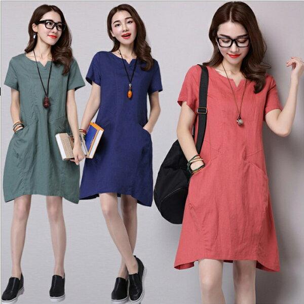 糖衣子流行館【YK1002】韓版時尚文藝寬鬆純色棉麻連身裙(預購款10天)