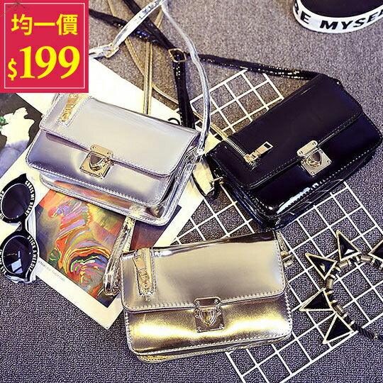 亮面側背包-韓版時尚 簡約風格 亮面素色側背包【AN SHOP】