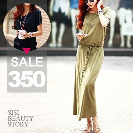 SISI【D6154】休閒甜美圓領短袖縮腰抽繩設計墜感連身長裙洋裝