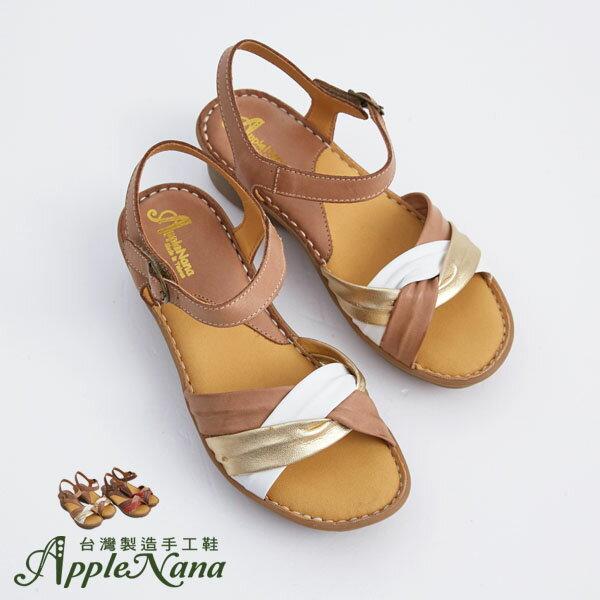 AppleNana。外銷日本絕對好穿軟牛皮扭轉配色真皮氣墊涼鞋。【QTR361280】蘋果奈奈 1