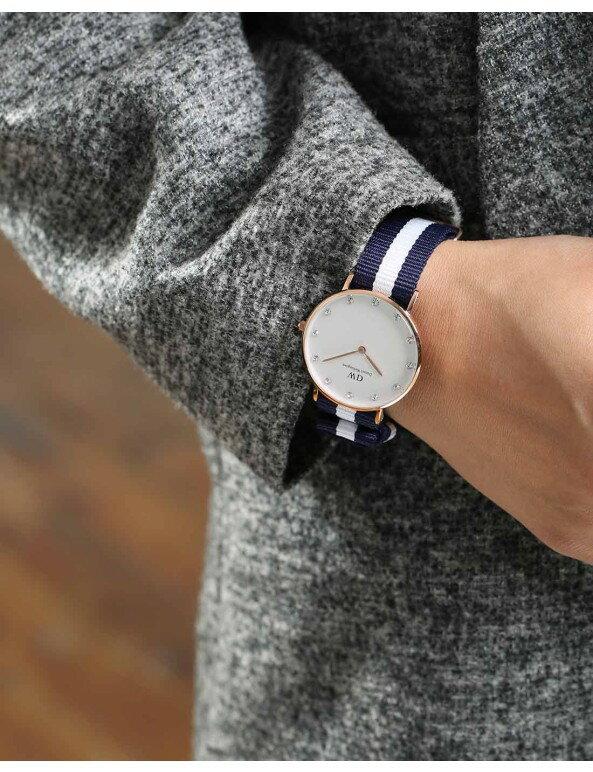 瑞典正品代購 Daniel Wellington 0953DW  玫瑰金 尼龍 帆布錶帶 女錶手錶腕錶 26MM 6