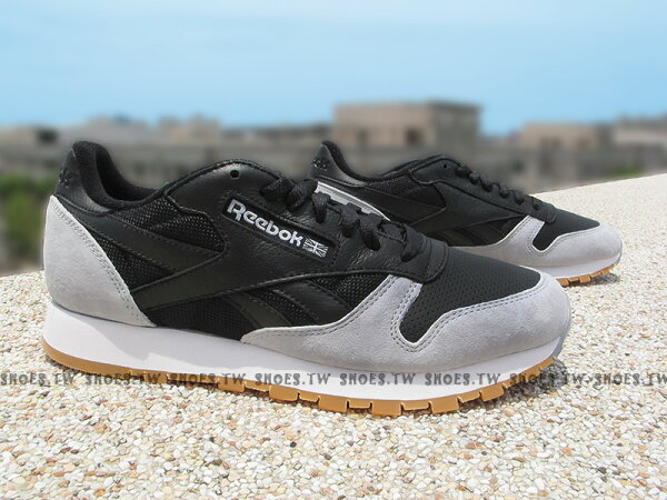 Shoestw【AR1895】Reebok CL LEATHER 黑灰 復古 Claissic 男款