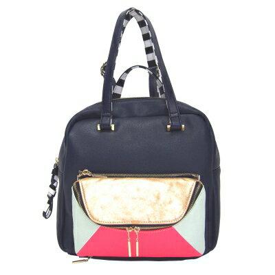I S 4 I C 日本設計師個性包款 歐美簡約狀色多用途大小包 肩背/後背/手拿/側背 自定款皮革包 (NAVY)