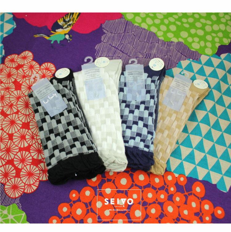 襪子 古著復古 氣質 SEIO  獨特圖型 日系典雅 百搭素面格紋 襪子 ^(4色^) ~