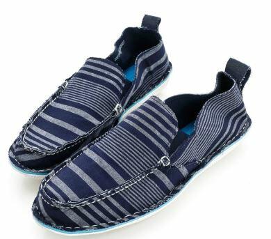 【零碼出清3.X折,全館免運】SPERRY 仿舊水洗彈力休閒便鞋-藍/條紋