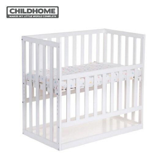 【贈床墊+床包】比利時【ChildHome】床邊童話嬰兒床- 椰子白 - 限時優惠好康折扣