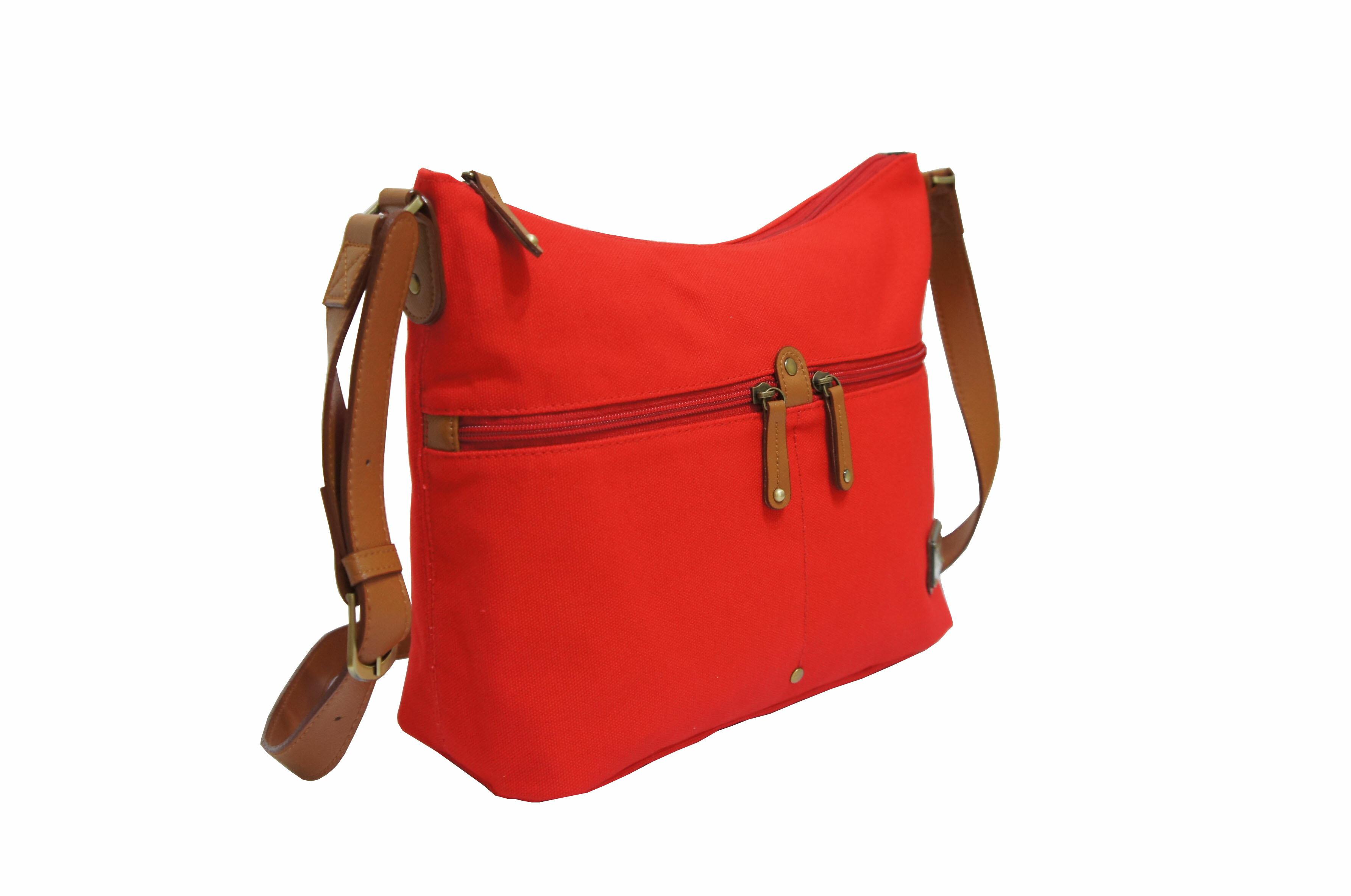CP024帆布手提肩背包共2色 紅/馬卡龍綠 2
