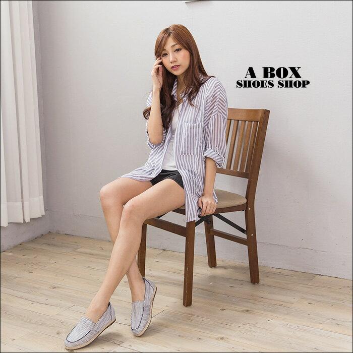 格子舖*【AA680】MIT台灣製 編織色線不規則刷邊牛仔布 休閒風懶人鞋 布面鞋 3色 1