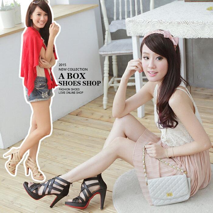 格子舖*【KTW838】 MIT台灣製 韓版性感風格皮質拉鍊紅底舒適交叉繞帶11cm高跟鞋 2色 0