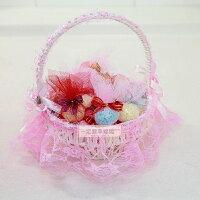 婚禮小物推薦到一定要幸福哦~~卡哇依小提籃+手工皂20個、婚禮小物、喜糖、喜籃、花瓣