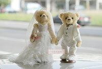 婚禮小物推薦到一定要幸福哦~~白色浪漫婚紗對熊(整組含支架) 、婚禮小物、生日禮、婚禮佈置