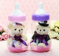 婚禮小物推薦到一定要幸福哦~~卡哇依奶瓶婚紗熊~~送客禮、姐妹禮、生日禮