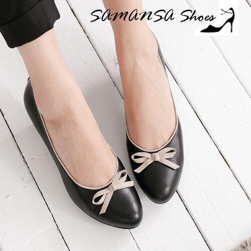 [SAMANSA] 小蝴蝶--綿羊皮靜音氣墊中跟鞋-#15103 簡約黑