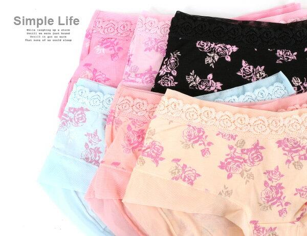 3件199免運【AJM】莫代爾纖維 玫瑰女神低腰平口褲3件組(隨機色) 1
