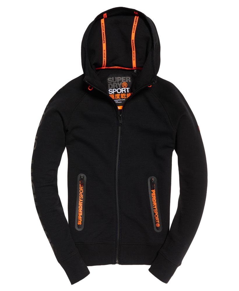 [男款] 英國名品 代購 極度乾燥 Superdry Gym Tech Panel 拉鍊運動男士戶外休閒連帽外套 黑色 0