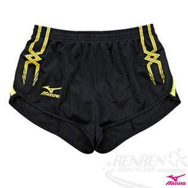 MIZUNO美津濃女 田徑服短褲(黑*'黃) 超輕量 飄飄褲 運動短褲