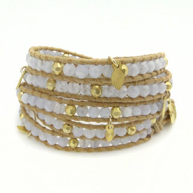 【現貨商品】【CHAN LUU】藍色瑪瑙鍍金珠墜飾米色皮繩手環/5圈(CL-BG-3974BluLacAga-Beige  0777500053) 0