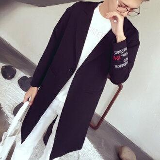 風衣外套中長版翻領大衣-時尚字母刺繡一粒扣男外套3色73ip11【獨家進口】【米蘭精品】