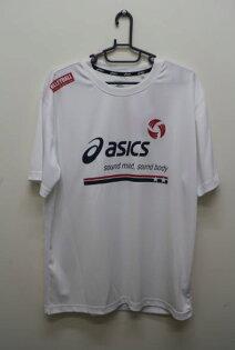 【陽光樂活】ASICS 亞瑟士 排球圓領T恤 抗UV K11421-01 白色 XL號
