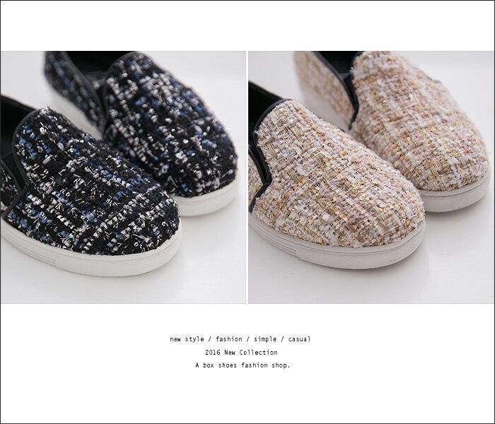 格子舖*【AA308】MIT台灣製 *限時特價*時尚混色毛呢 3CM厚底休閒鞋 小白鞋 懶人鞋 3色 2