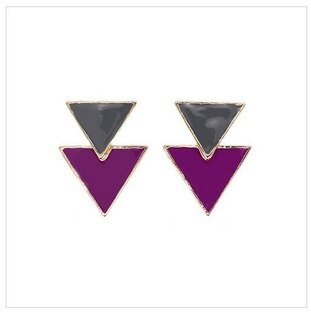 倒三角摩登垂墬式耳環 (橄欖綠X紫)La Mode Triangle Dangle Earrings - Olive x Purple