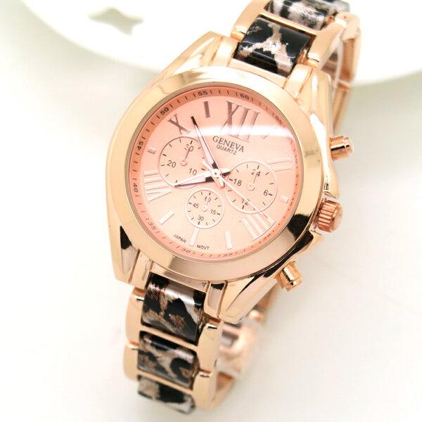 女錶 手錶 炫金 玫瑰金 三眼造型 羅馬時刻 手鍊錶 中性錶 GENEVA  日內瓦《好時光》