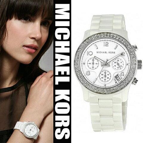 美國Outlet正品代購 MichaelKors MK 陶瓷 水鑽 三環 手錶 腕錶 MK5188 0