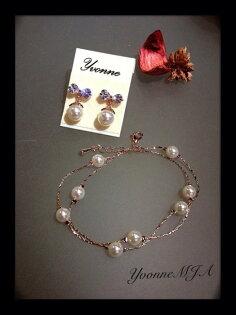 *Yvonne MJA珠寶首飾品*甜美迷人款可愛蝴蝶結奧地利水晶小垂墜珍珠耳環(可改夾式)