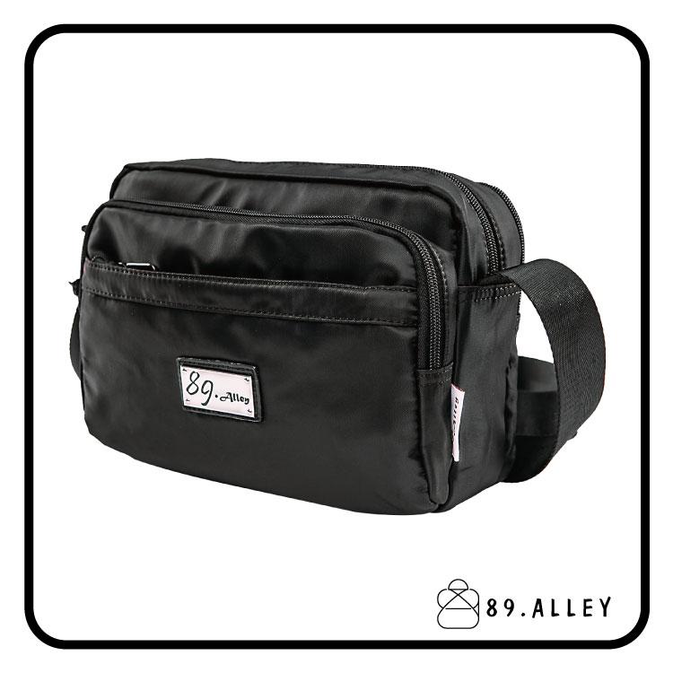 側背包 女包男包 黑色系防水包 輕量尼龍直式雙層情侶斜背包 89.Alley 1