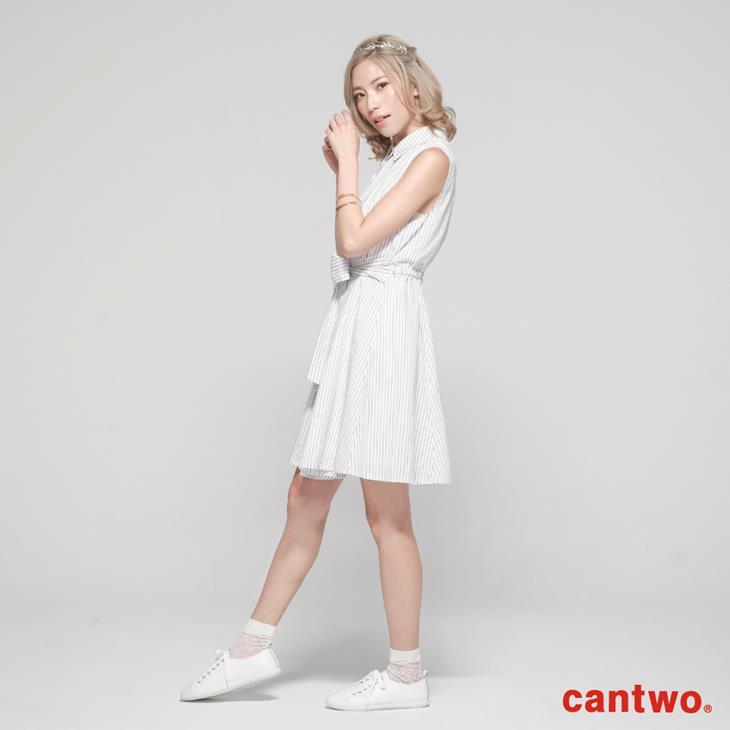 cantow襯衫領無袖洋裝(共三色) 2