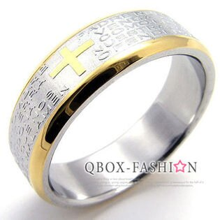 《 QBOX 》FASHION 飾品【W10019269】精緻個性金邊經文十字架316L鈦鋼戒指/戒環(特價商品)