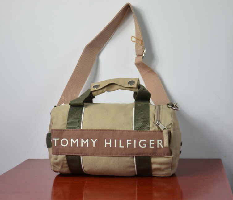 美國空運_TOMMY HILFIGER 兩用休閒 ^(小^)圓桶包肩背包手提包^(卡其色^