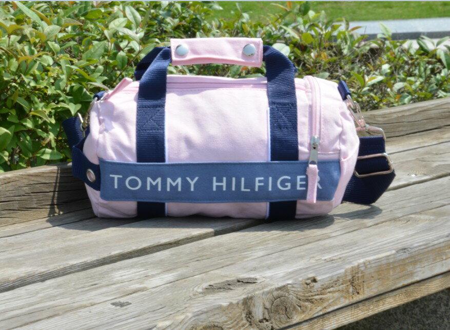 美國空運_TOMMY HILFIGER 兩用休閒 ^(小^)圓桶包肩背包^(粉紅色^)手提