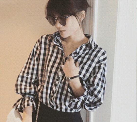 襯衫 - 氣質繫帶喇叭袖格子襯衫【29158】藍色巴黎-現貨 + 預購 2