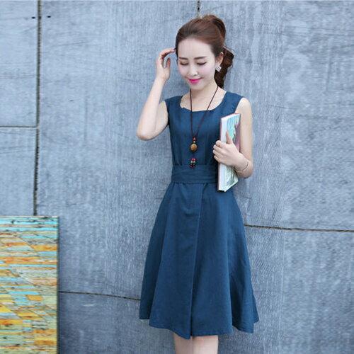 短洋裝 - 韓版小清新修身綁帶棉麻連衣裙【29125】藍色巴黎《3色》現貨 1