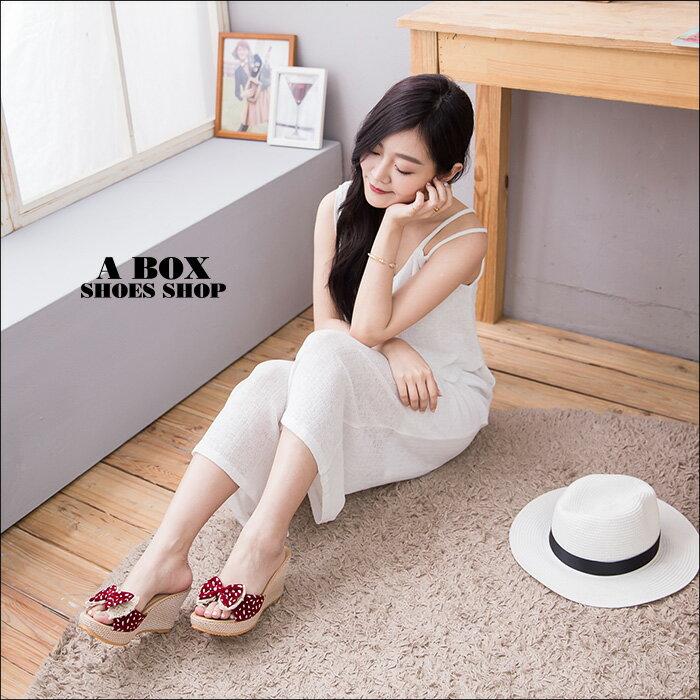 格子舖*【ADGF2078】日韓系可愛絨布蝴蝶結 防水台前3後8.5CM楔型增高拖鞋 2色 1