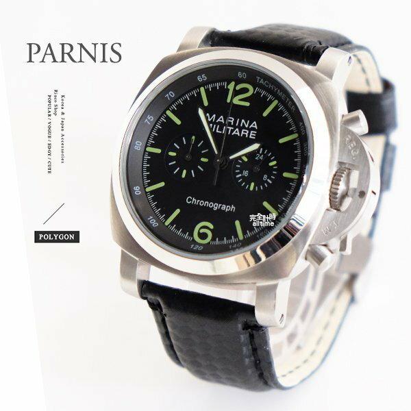 完全計時手錶館│PARNIS 軍錶風格│簡約質感自動機械錶 黑色矽膠帶款 鎖式龍頭設計 PA3014