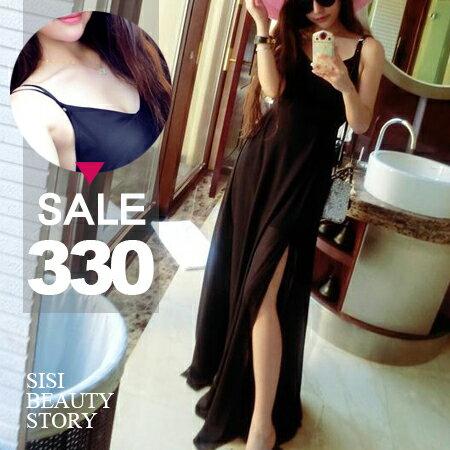 SISI【D6162】細肩吊帶高腰修身顯瘦開叉長裙雪紡紗灘裙連身裙洋裝
