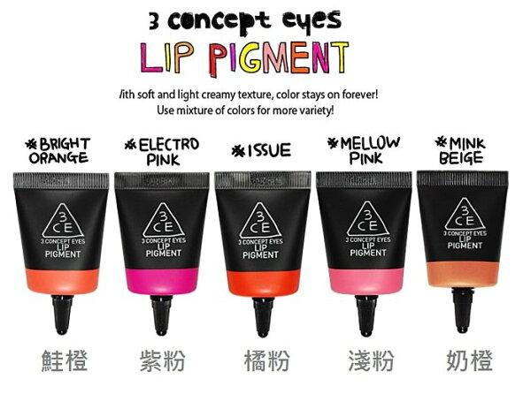 【彤彤小舖】韓國 3 CONCEPT EYES 3CE 化妝間唇彩霜 Lip Pigment 11g 韓國原廠