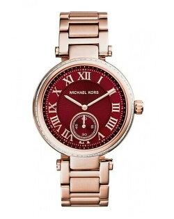 美國Outlet正品代購 MichaelKors MK 復古羅馬鑲鑽紅  陶瓷  三環 手錶 腕錶 MK6086