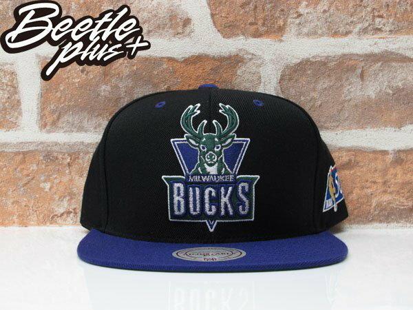 BEETLE MITCHELL&NESS NBA BUCKS SNAPBACK 密爾瓦基 公鹿隊 黑紫綠 後扣棒球帽 MN-333