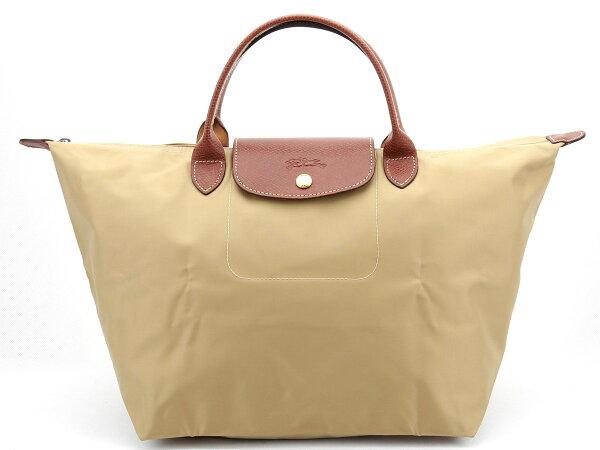 [1623-M號]國外Outlet代購正品 法國巴黎 Longchamp  短柄 購物袋防水尼龍手提肩背水餃包 卡其色