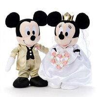 婚禮小物推薦到日本代購預購幸福浪漫婚禮小物新郎新娘婚禮組盒裝米奇米妮婚禮洋裝M 絨毛玩偶 747-397